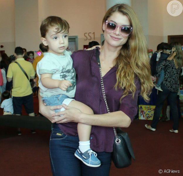Alinne Moraes não conseguiu ir à pré-estreia de 'Os Saltimbancos Trapalhões' neste sábado, 14 de janeiro de 2017, por conta de seu filho