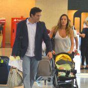 Luciano Szafir viaja com a mulher, Luhanna, e o filho David, de 2 meses, no Rio