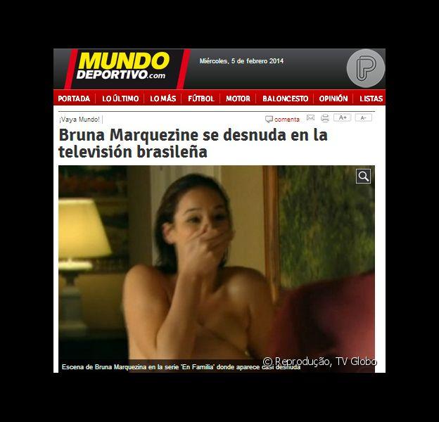Alguns sites na Espanha estão repercutindo as cenas de nudez de Bruna Marquezine na novela 'Em Família'