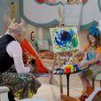 Dulce Maria (Lorena Queiroz) aprende a pintar e misturar cores com  Silvestre (Blota Filho)   , na novela 'Carinha de Anjo'