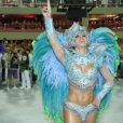 Mirella Santos teve um problema com sua fantasia no Carnaval 2012. O esplendor da musa se soltou durante o desfile, mas ela não perdeu o brilho ao cruzar a Avenida pela Grande Rio