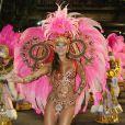 Carol Nakamura, do 'Domingão do Faustão', desfila pela Grande Rio, em 2012, ano que a escola perder quase todas as alegorias após um incêndio no barracão, na Cidade do Samba