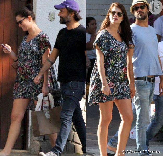 Grávida de 6 meses, Alinne Moraes repete vestido florido e soltinho durante passeio com o namorado, o diretor Mauro Lima, pelas ruas de Ipanema, na Zona Sul do Rio de Janeiro, nesta segunda-feira, 24 de fevereiro de 2014