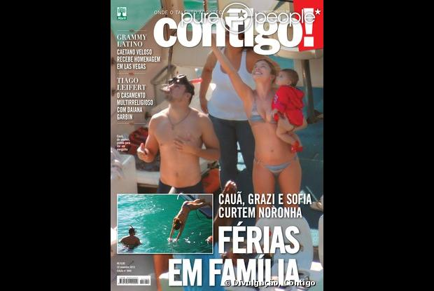 Assim que nasceu Sofia, de quase 8 meses, Grazi Massafera passou as férias em Fernando de Noronha e apareceu bem magrinha na foto de biquíni