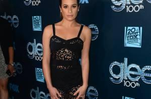Lea Michele usa vestido transparente em festa do 100º episódio de 'Glee'