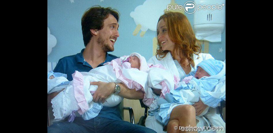 Marcelo (Igor Angelkorte) e Priscila (Laila Zaid) terão quatro filhos ruivos em 'Além do Horizonte', em 2 de maio de 2014