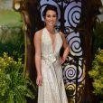 Lea Michele sou vestido longo da grife Juan Carlos Obando