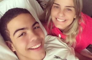 Milene Domingues posta foto com Ronald após cirurgia: 'Filhāo se recuperando'
