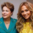 Jennifer Lopez posou com a presidente Dilma após cantar na abertura da Copa do Mundo