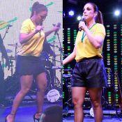 Ivete Sangalo quase mostra demais em show e troca saia por short: 'Mamãe Smurf'