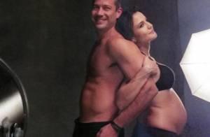 Malvino Salvador mostra tanquinho ao posar com Kyra Gracie, grávida de 8 meses