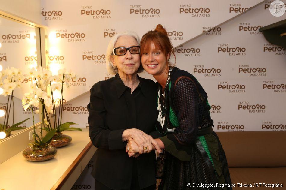 Marina Ruy Barbosa prestigiou Fernanda Montenegro na inauguração do teatro PetroRio, no shopping da Gávea, zona sul do Rio, neste sábado, 15 de dezembro de 2018