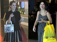 Isabelle Drummond e Sthefany Brito usam look P&B e rasteirinha em dia de compras