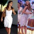 Carolina Dieckmann participou do 'Esquenta!' usando o mesmo vestido branco que apostou para um passeio no shopping