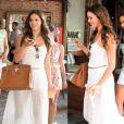Bruna Marquezine aposta no longo branco para um almoço entre amigas e um passeio no shopping