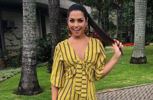 Thais Fersoza usa minissaia com bordado floral e tem look elogiado: 'Elegante'