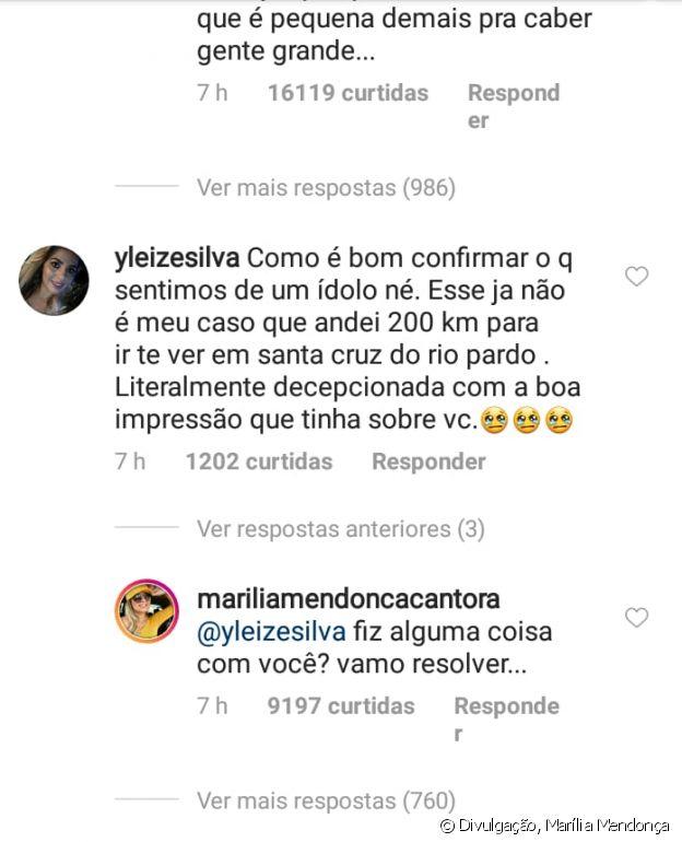 Marília Mendonça também respondeu uma fã que se afirmou decepcionada com ela