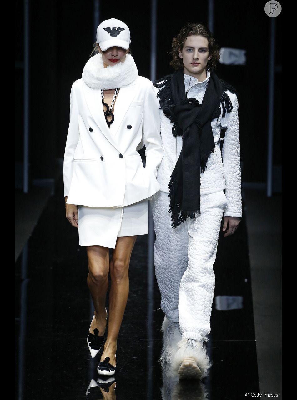 87ae15f3cb130 Fashion Week de Milão - No desfile da Emporio Armani, os looks  completamente brancos foram destaque