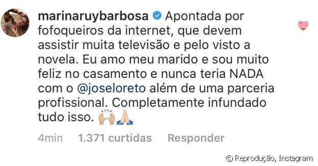 Marina Ruy Barbosa comenta no Instagram que é muito feliz no casamento e nega qualquer envolvimento com José Loreto.
