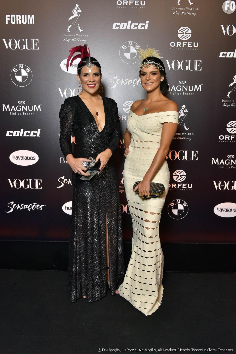 2418f856f8cc1 Baile da Vogue  Marina Figueiredo e Esthela Conde a bordo de vestidos  longos para festa de gala