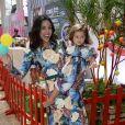 Yanna Lavigne e Madalena nos bastidores do Fashion Weekend Kids, em SP