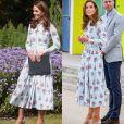 Kate Middleton repete vestido floral da marca Emilia Wickstead: a primeira vez, ele foi usado em 2019 e repetido em 2020 em evento após a quarentena