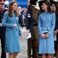 Casaco azul Alexander McQueen foi usado por Kate Middleton em 4 ocasiões: duas vezes em 2014, depois em 2016 e finalmente em 2019