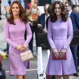 Kate Middleton usou vestido lilás Emilia Wickstead em julho de 2017 e outubro de 2018