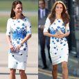Kate Middleton usou vestido branco com flores azuis em 2014 e em 2016
