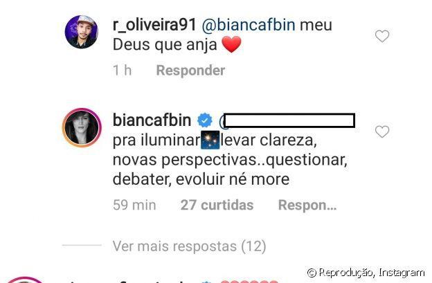 Bianca Bin rebate comentário sobre responder apenas críticas na web