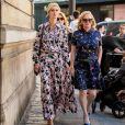 Vestido floral: Nicky Hilton escolheu o vestido lono em estilo camisa para ver o desfile da Valentino