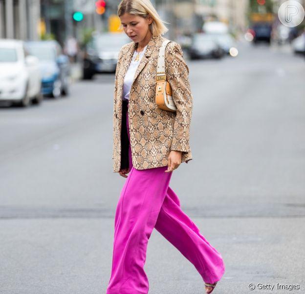 Calça pantalona: a peça foi um dos grandes hits no street stule da Semana de moda de Copenhagen