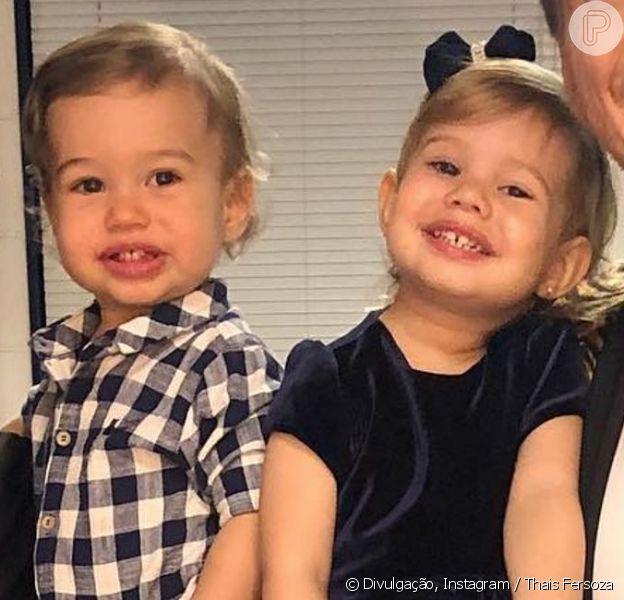 Filhos de Thais Fersoza e Teló, Melinda e Teodoro comemoram aniversário juntos