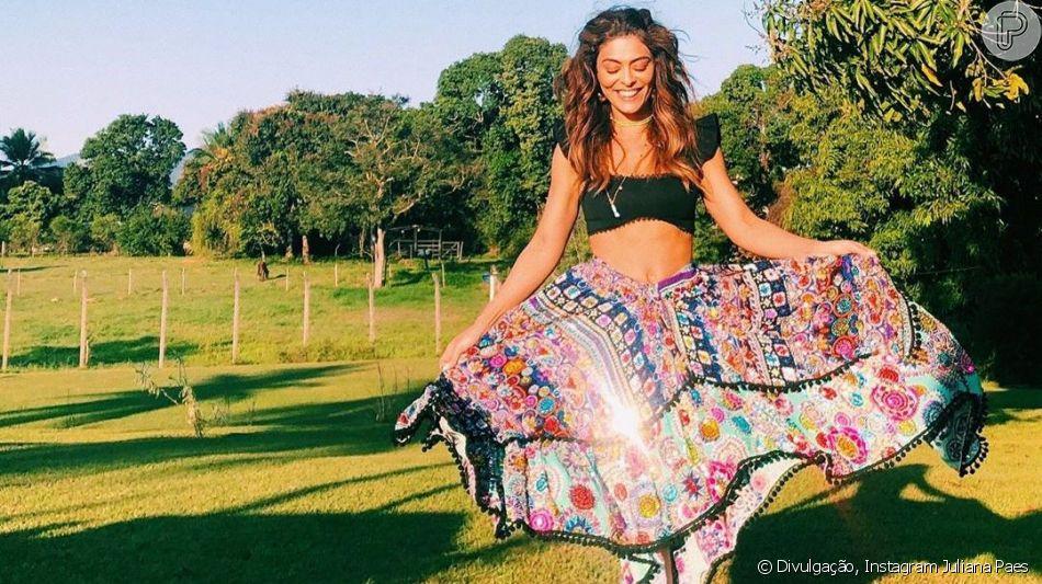 Juliana Paes curtiu o fim de semana em um sítio ao lado de sua família