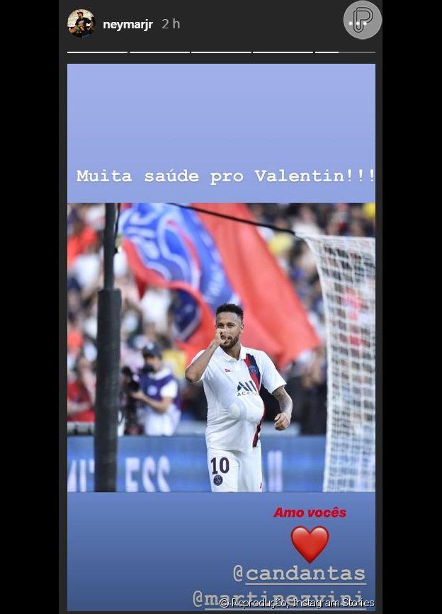 Neymar parabenizou Carol Dantas pelo nascimento de Valentin