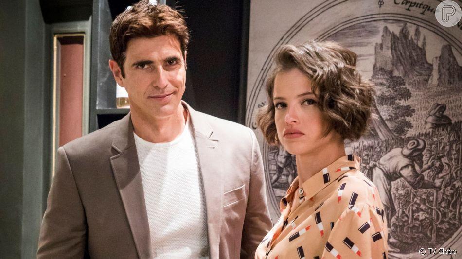 Josiane (Agatha Moreira) arma plano para incriminar Régis (Reynaldo Gianecchini) e ele vai parar na prisão na novela 'Órfãos da Terra'