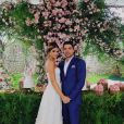 O mesmo estilo romântico do vestido já tinha sido a opção de Thássia Naves para a festa de noivado