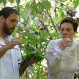 Na novela 'Topíssima', Sophia (Camila Rodrigues) e Antonio (Felipe Cunha) improvisam canoa, mas acabam caindo em um rio no capítulo de sexta-feira, 25 de outubro de 2019