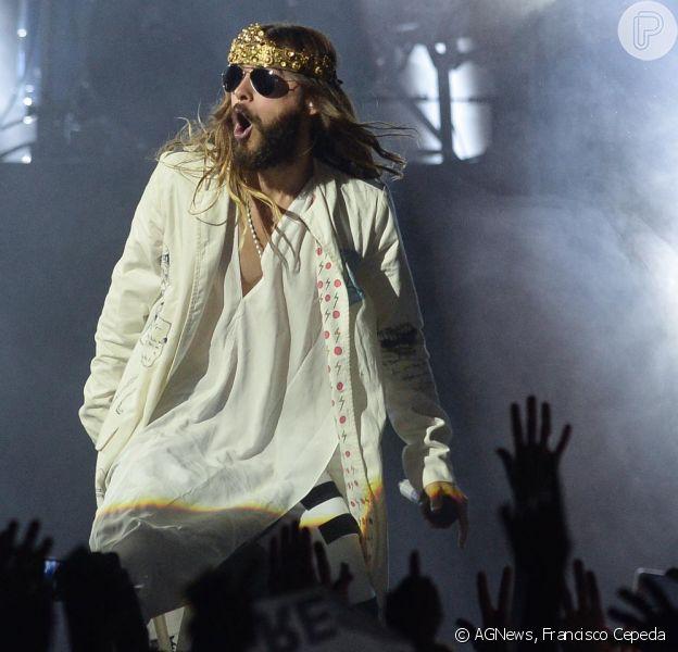 Jared Leto faz show com a banda 30 Seconds to Mars, em 16 de outubro de 2014