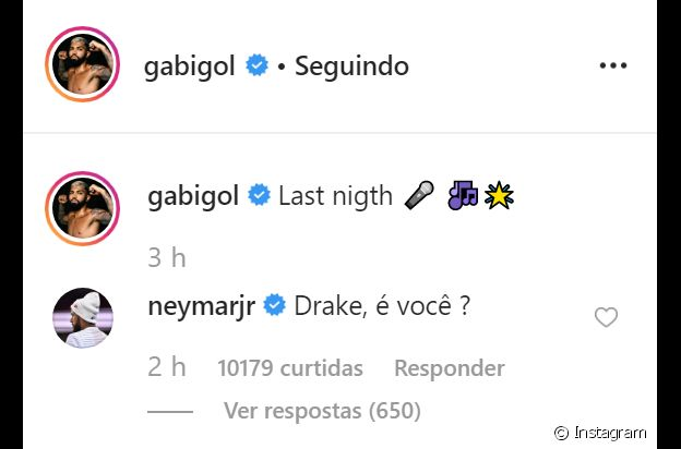 Neymar compara Gabigol com Drake