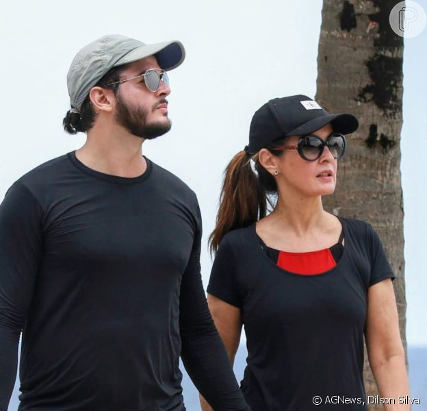 Casal fitness: Fátima Bernardes e Túlio Gadêlha se exercitam após férias nesta terça-feira, dia 14 de janeiro de 2020