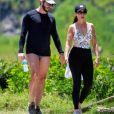 Fátima Bernardes e o namorado se exercitaram juntos ao ar livre