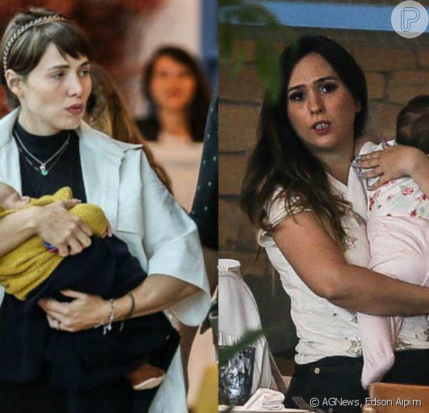 Tatá Werneck e Leticia Colin levaram os filhos Clara Maria e Uri, respectivamente, para passear em um shopping do Rio neste domingo, 19 de janeiro de 2020