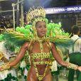 Iza usou maiô supercavado verde e dourado, cores da Imperatriz Leopoldinense, ao estrear como rainha de bateria do carnaval do Rio, neste domingo, 23 de fevereiro de 2020
