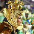 Paolla Oliveira, com look inspirado em Cleópatra na Grande Rio, se emocionou durante desfile na Sapucaí
