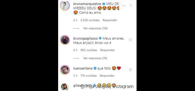 Bruna Marquezine se derrete por foto de Giovanna Ewbank com filhos e barriga