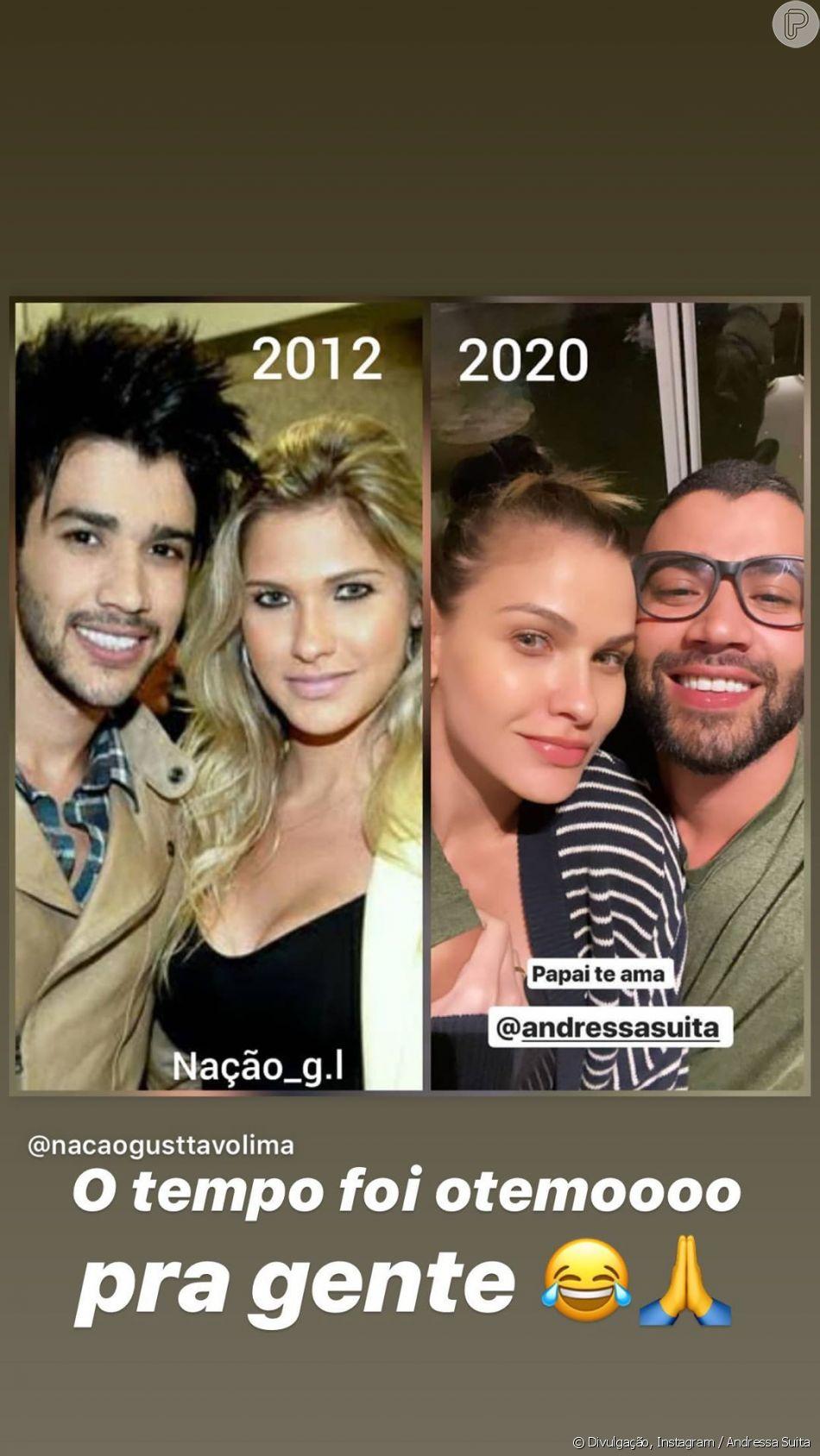 Andressa Suita e Gusttavo Lima surgem diferentes em foto de antes e depois