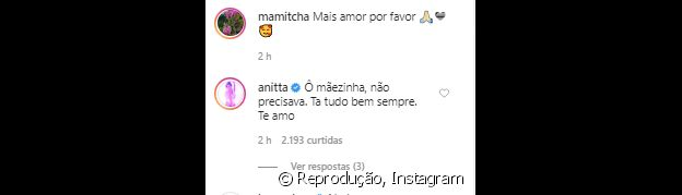 Anitta reage a vídeo da mãe, Miriam, destacando carinho entre as duas