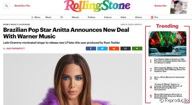 Anitta aparece em destaque na imprensa internacional após anúncio de CD nos EUA