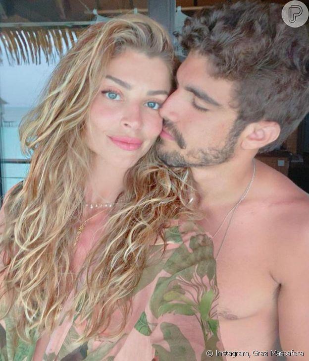 Grazi Massafera troca declarações com Caio Castro no primeiro Dia dos Namorados do casal